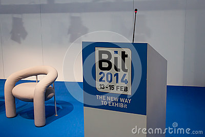 Empty conference room at Bit 2014, international tourism exchange in Milan, Italy Editorial Photography