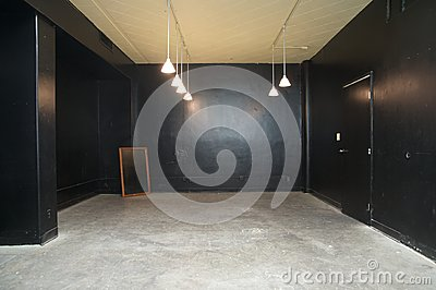 Empty conference room painted in black