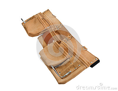 An empty construction workers leather belt