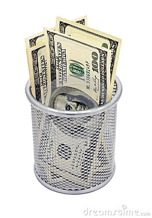 Empty container and banknotes dollar