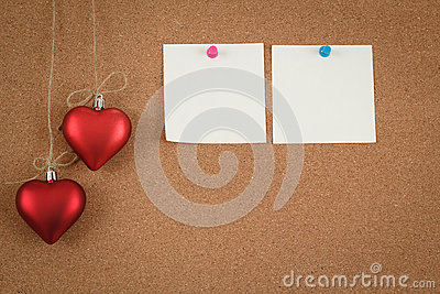 Empty cork board for valentine message