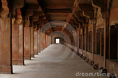Empty corridor in Fatehpur Sikri complex, India