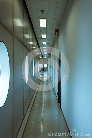 Empty corridor at Weekend Donna 2013 in Milan, Italy Editorial Stock Image