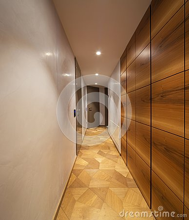 Free Empty Corridor With Wodden Closet Royalty Free Stock Image - 116241916