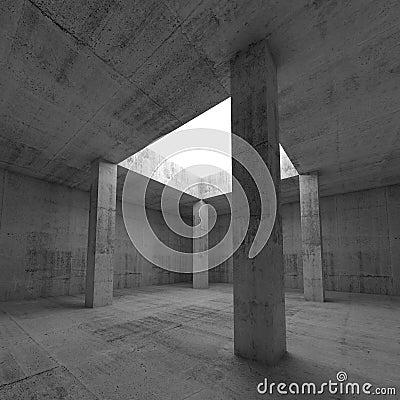 Free Empty Dark Concrete Room Interior With Columns Stock Photography - 53549132