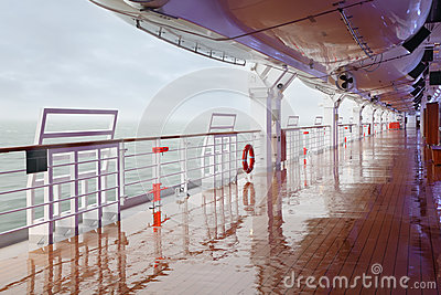 Empty deck and railing of cruise ship Editorial Photography