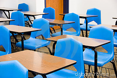 Empty Desks In A Classroom Stock Image - Image: 9154941