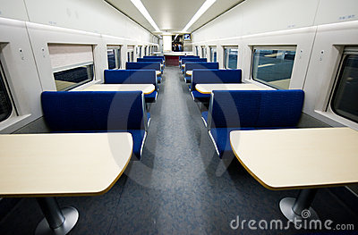 Empty dining car on train