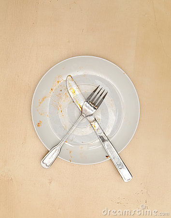 An empty dirty plate