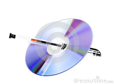 An empty disc with pen