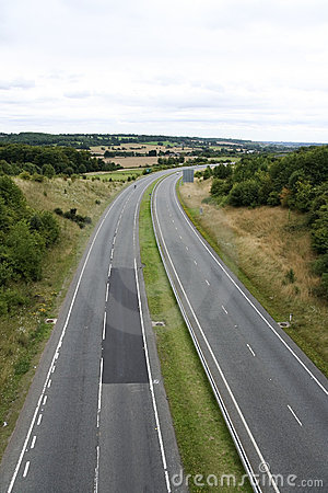 Empty dual carriageway road countryside uk