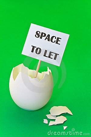 Empty eggshell - concept of estate rent