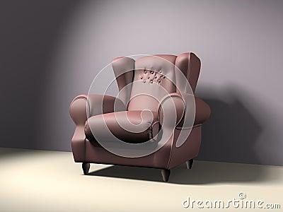 Empty elbow-chair