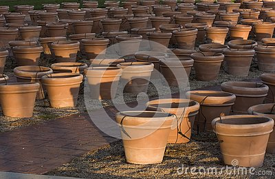 Empty flower pots waiting for flowers