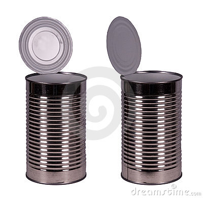 Empty Food Tin Can Container Isolated on White