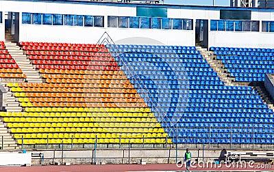 Empty football stadium and tribunes