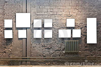 empty frames on the brick wall stock images image 18983904