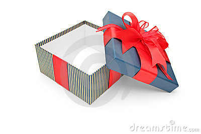 An empty gift box with red ribbons