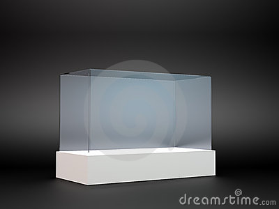 An empty glass display