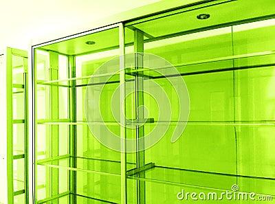 Empty glass display shelves