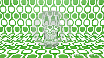 Empty glass  on green
