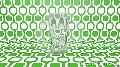Empty glass  on green