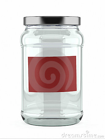 Empty Glass Jar with red label