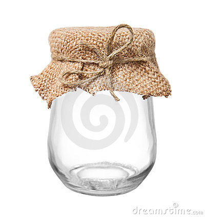 Empty glass jar with sacking and rope
