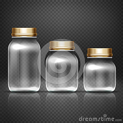 Free Empty Glass Jars With Lods For Grandma Kitchen Canning Preserves Vector Set Stock Photo - 83794270