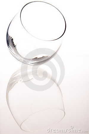 Empty glass leaning