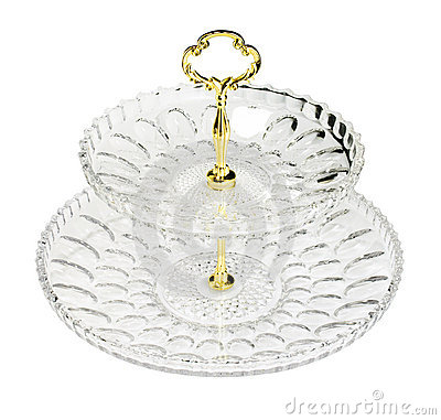 Empty glass plate with gold core