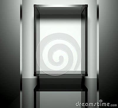 Empty glass showcase, 3d exhibition space