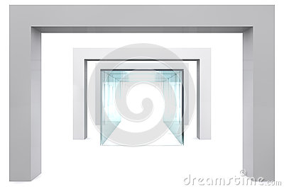 Empty glass showcase in grey room
