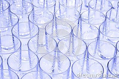 Empty glasses on buffet