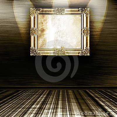 Empty Gold Frame On Wall
