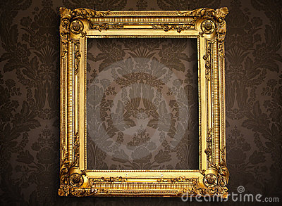 Empty golden frame on vintage wallpaper