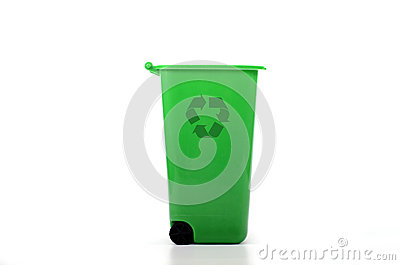 Empty green plastic recycle bin