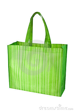 Empty green reusable grocery bag