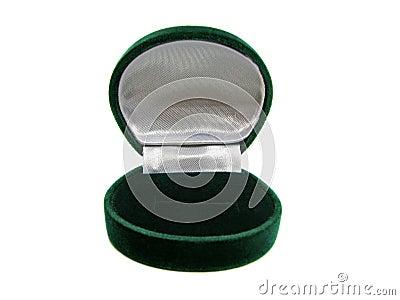 Empty green ring box