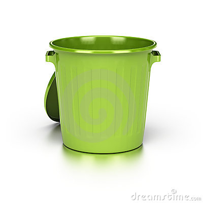 Empty green trash bin