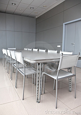 Empty grey meeting room