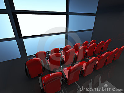 Empty hall of cinema. 3D interior