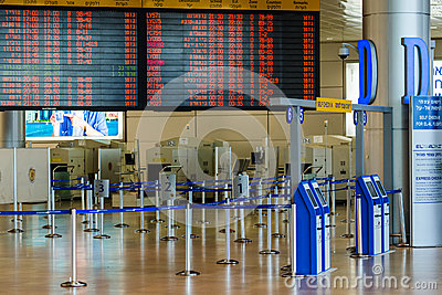Empty hall in Israeli airport Ben Gurion on Saturday (Shabbat) Editorial Stock Image