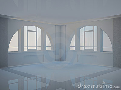 Empty hall with two large arched windows