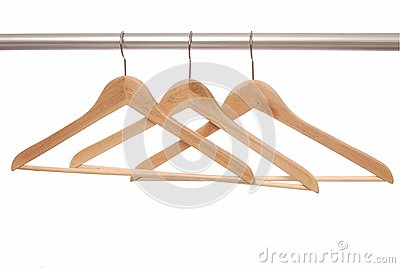 Empty  hangers are on white background.