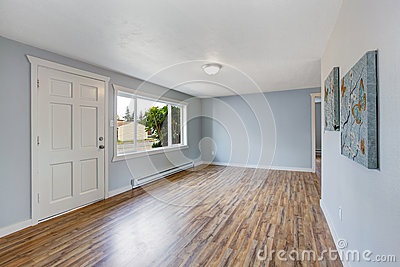 Empty House Interior With Light Blue Walls Stock Photo