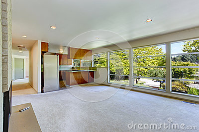 Empty House Interior With Open Floor Plan Living Room