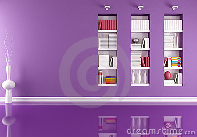 Empty interior with bookcase