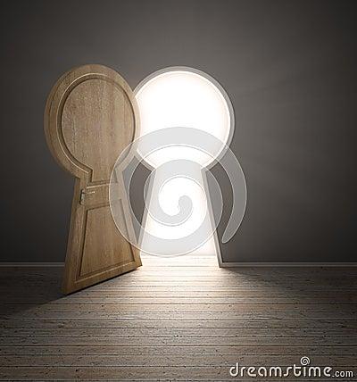 Empty interior with a door shaped