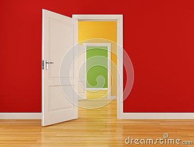 Empty interior with open doors